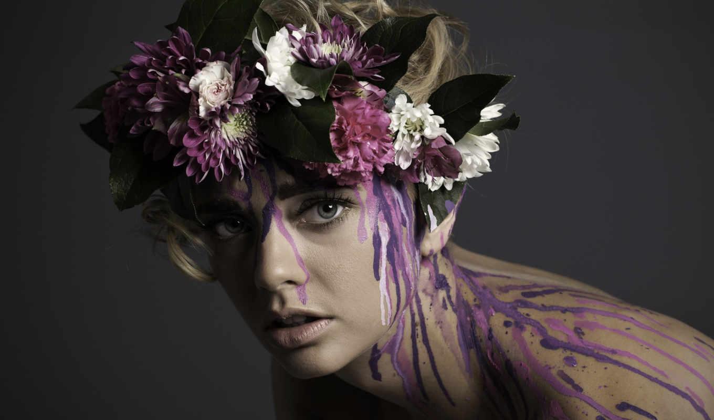 модель, devushki, mayhem, краска, краски, брызги, венок, голове,