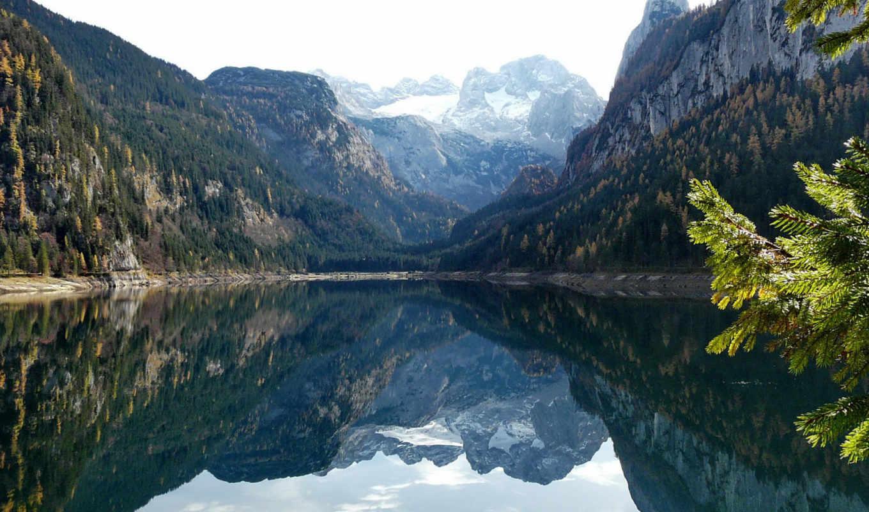 ,озеро, горы, природа, vorderer, gosausee, отражение, reflection, austria,