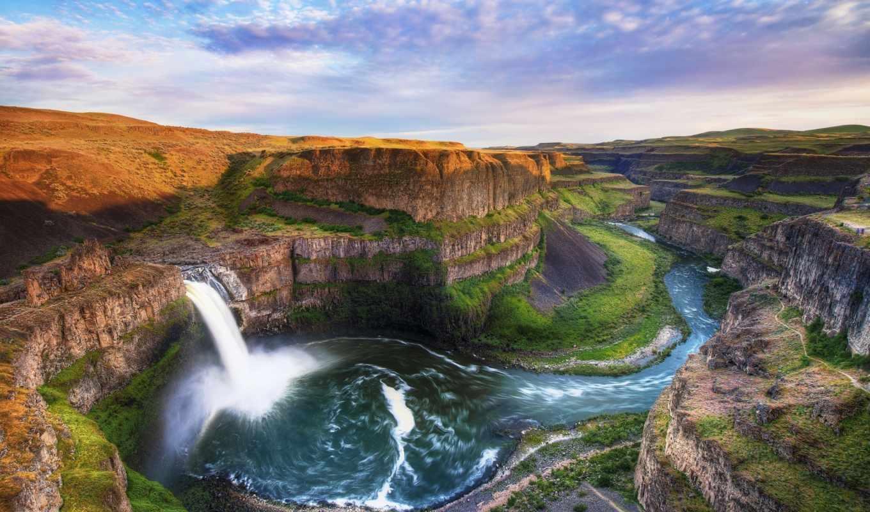скалы, река, поток, водопад, palouse, falls, картинка, картинку, каньон, кнопкой, мыши, панорама, пейзаж, вода,