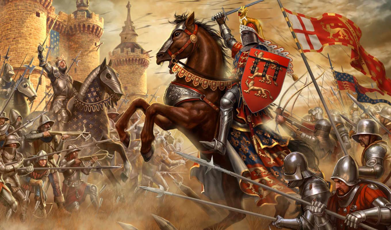 война, столетняя, сражение, крепость, воины, французы, рыцари, англичане, креси,