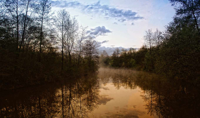 природа, вечер, река, красавица, взгляд, trees, леса,