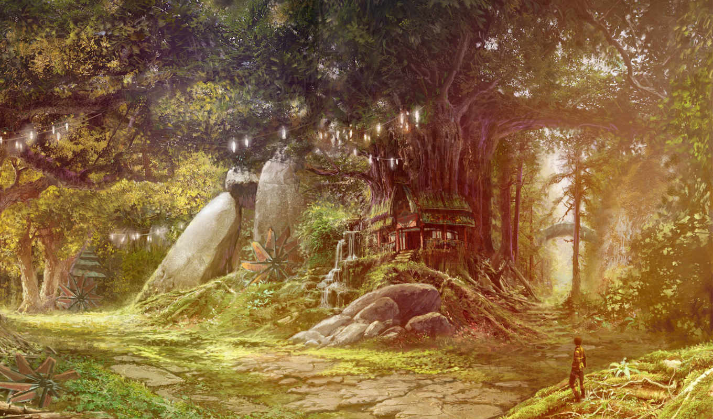 aion, eternity, tower, лес, сказка, дом, человек, картинка, games, tree, fantasy,