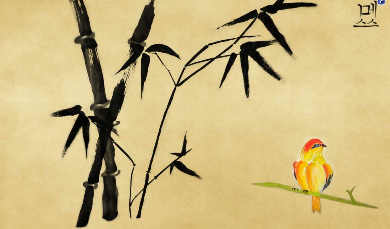 бамбук, рисунок, птица, иероглиф,