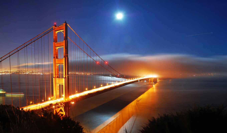 мост, города, огни, золотистый, gate, золотые,