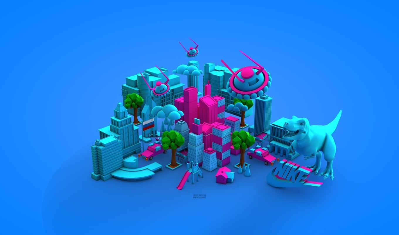 голубой, найк, свет, трехмерной, город, графикой, фона,