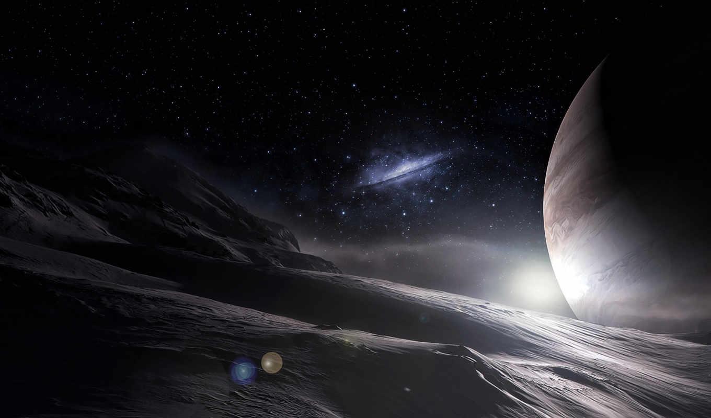 звезды, арт, космос, планеты, поверхность, галактика,