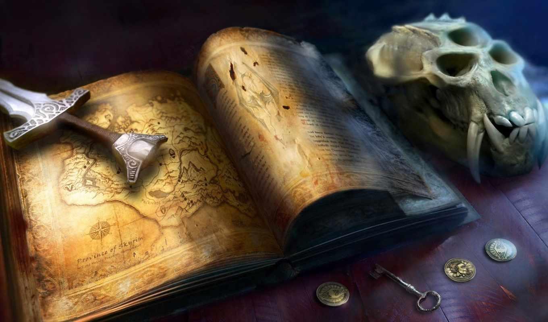 книга, карта, skyrim, scrolls, elder, меч, череп, картинку, картинка,