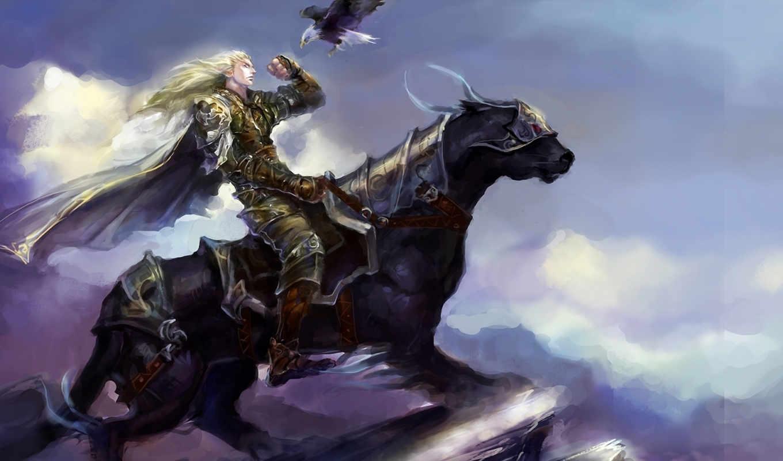 всадник, лошадь, птица, орел, море, просмотреть, берег,