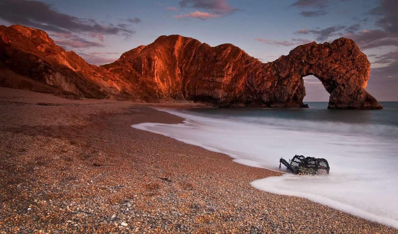 море, скалы, арка, галька, ocean, cliff, пейзажи -, arcade,