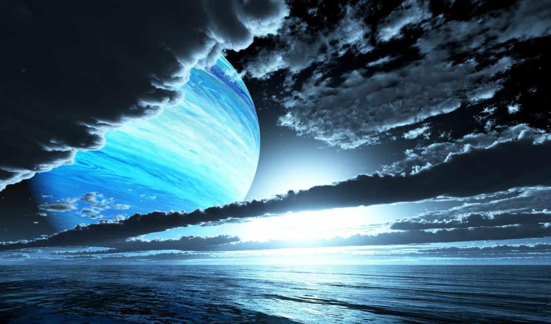 небо, планета, вода, облака,
