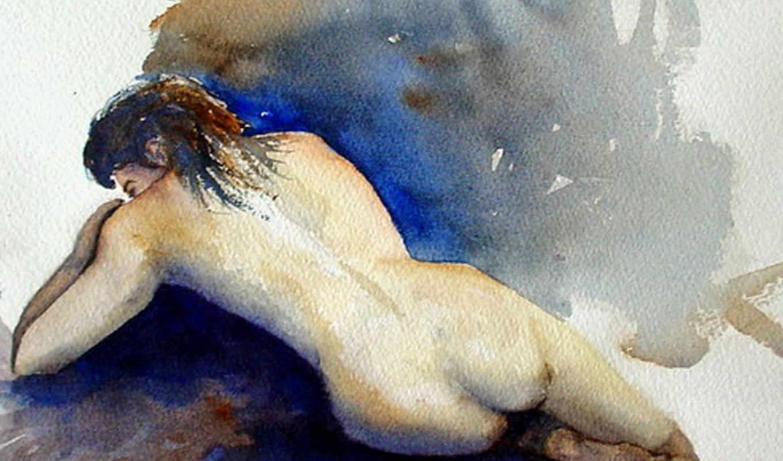 watercolor, animals, живопись, люди, paintings, gallery,