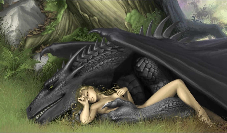 дракон, девушка, красивый,