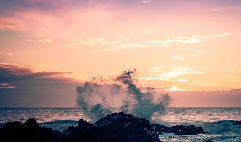 небо, природа, волна, берег, брызги