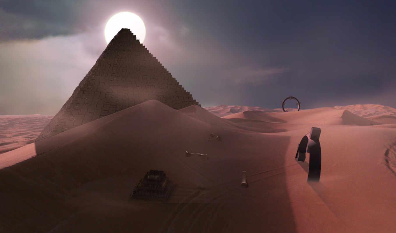 пустыня, ночь, пустыне, ночью, креативные, графика, widescreen,