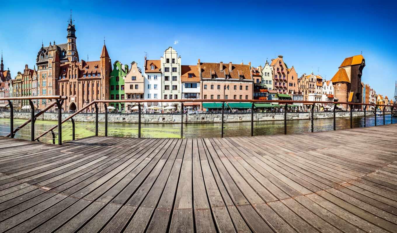 река, гданьске, полировка, стена, mural, город, gate, house, мэри, небо