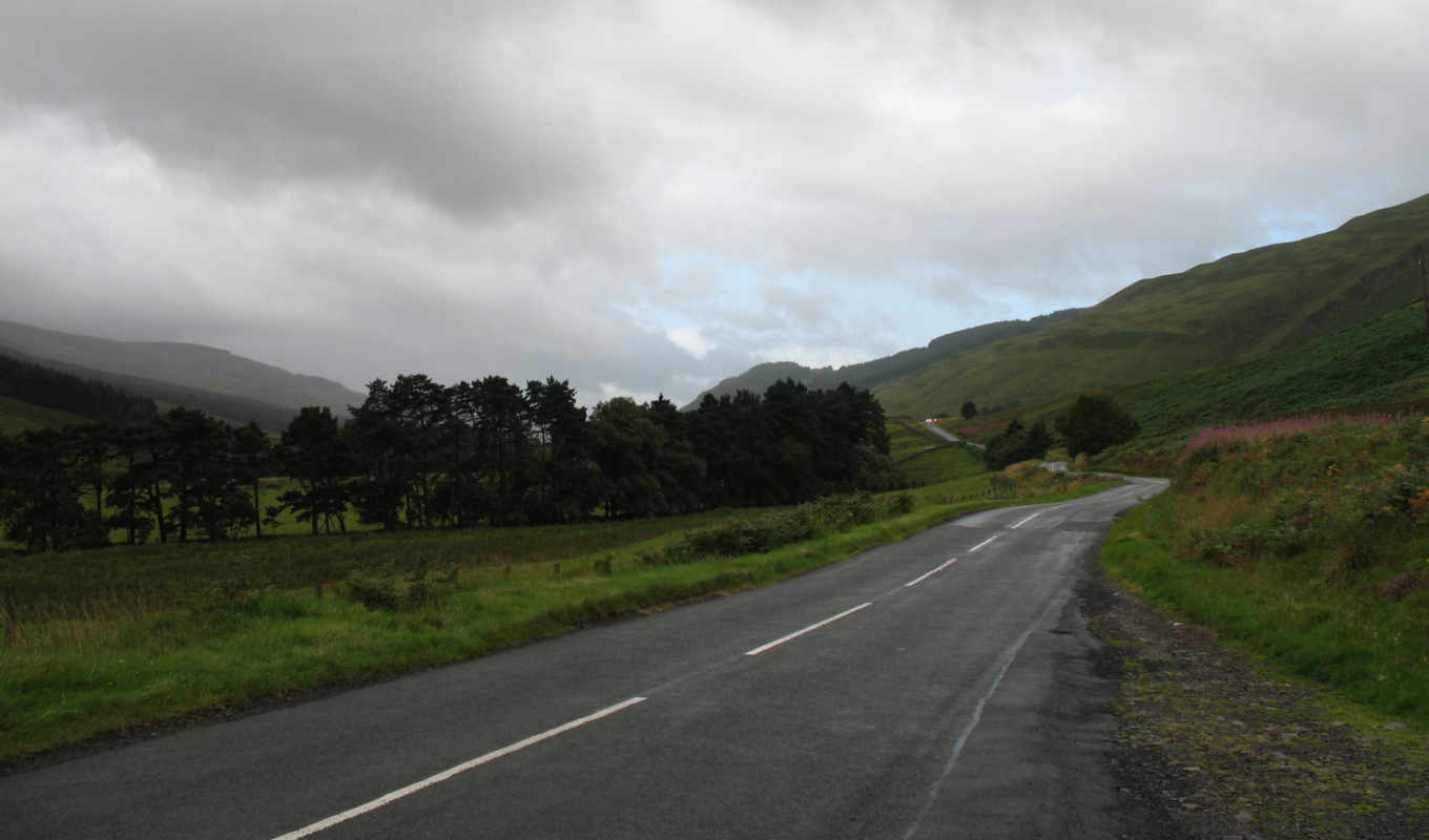 road, desktop, scottish, free, tiefland, country, widescreen,