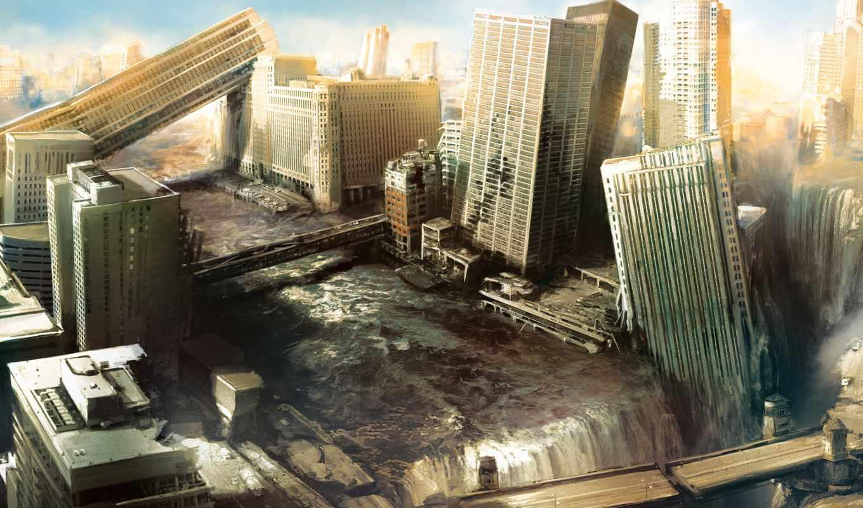 город, разрушения, руины, небоскребы, alive, am, апокалипсис,