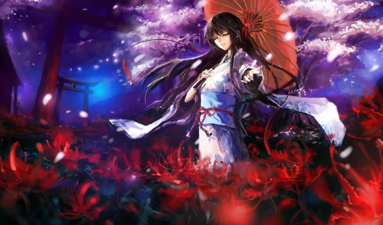 anime, кимоно, art, девушка, ago, пришло, дней, devushki,