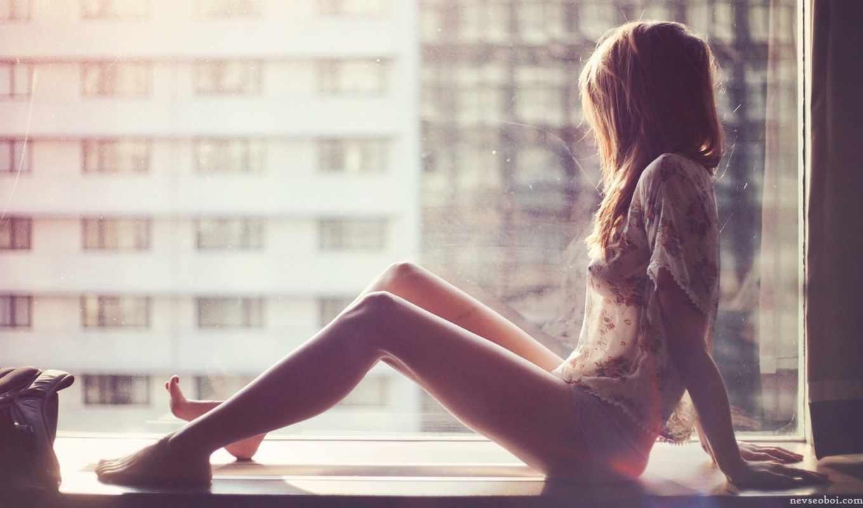 девушка, подоконнике, сидит, окно, смотрит, girls,