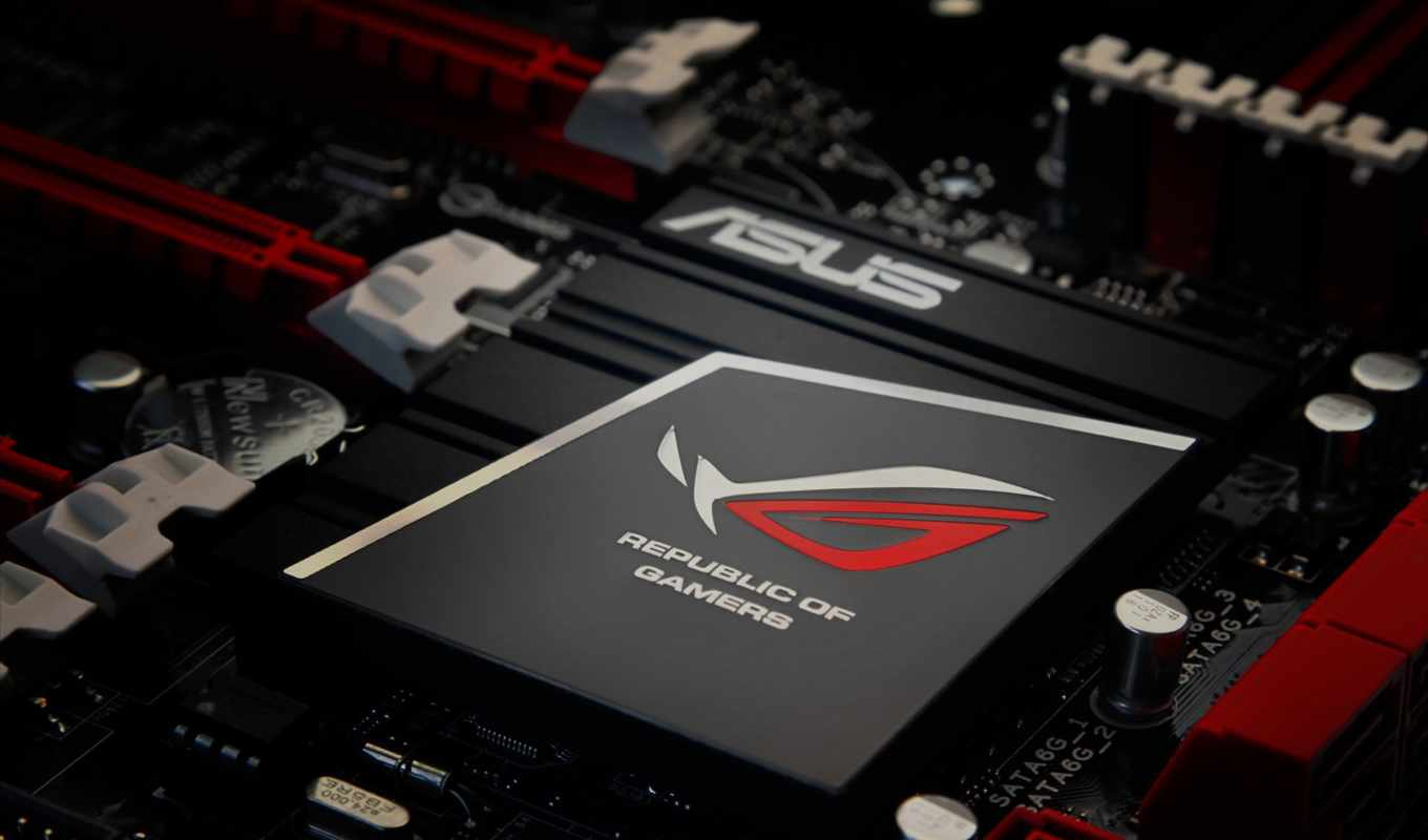 asus, logo, chip, radiator, motherboard