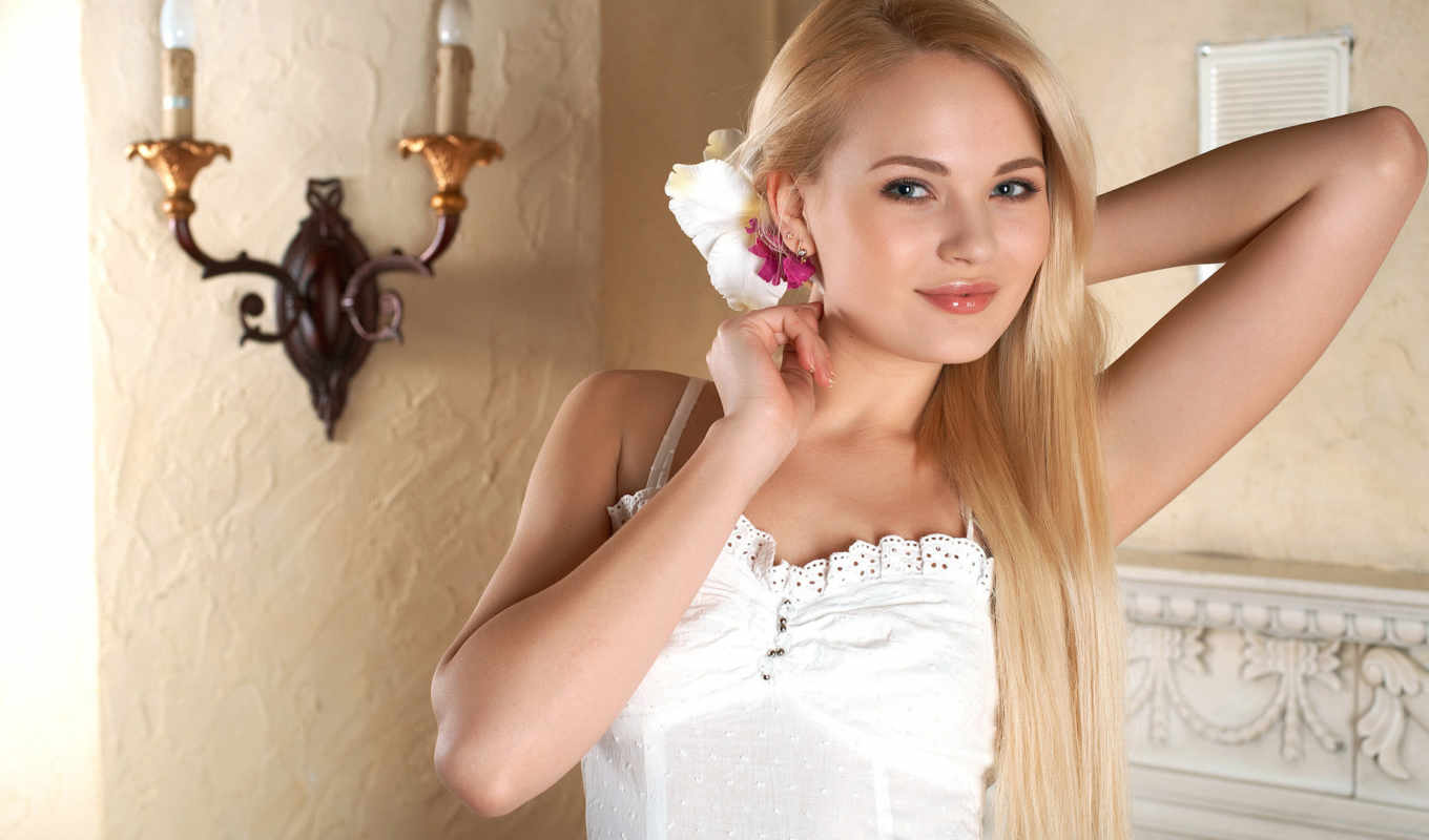 talia, cherry, blossom, wallpaper, women, blondes,