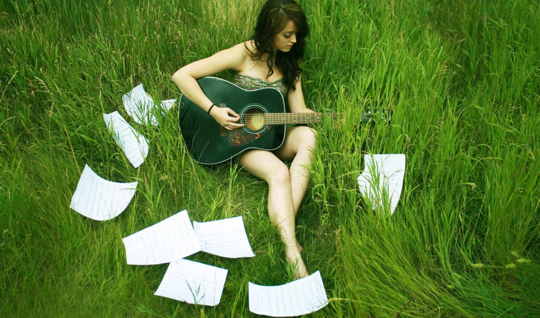 девушка, гитара, трава, аккорды, зелёная, лист, music, singer, nature, качественные, картинку,