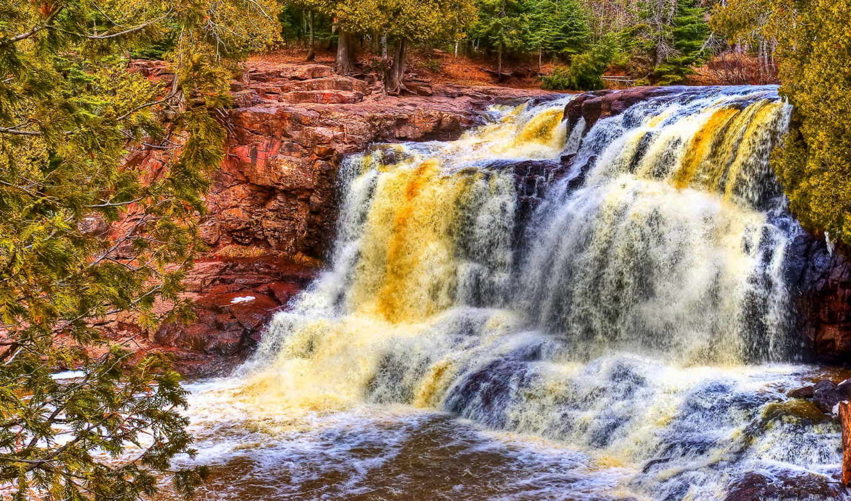 hdr, rocks, desktop, водопад, река, widescreen, photos, high, trees,