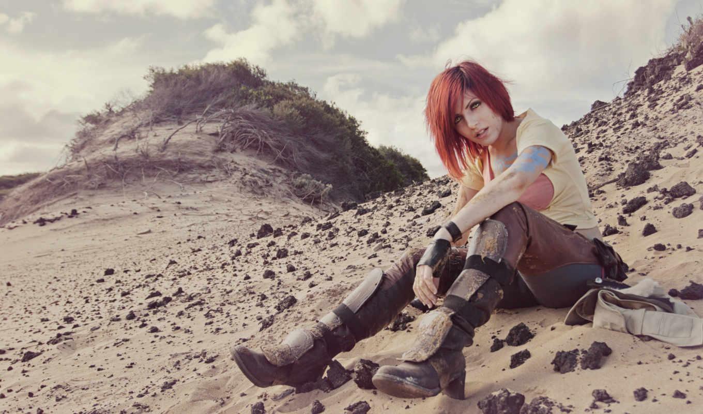 art, рыжая, девушка, borderlands, bordredlands, песок, lilith, симпатичная, скалы, игры, разрешением,