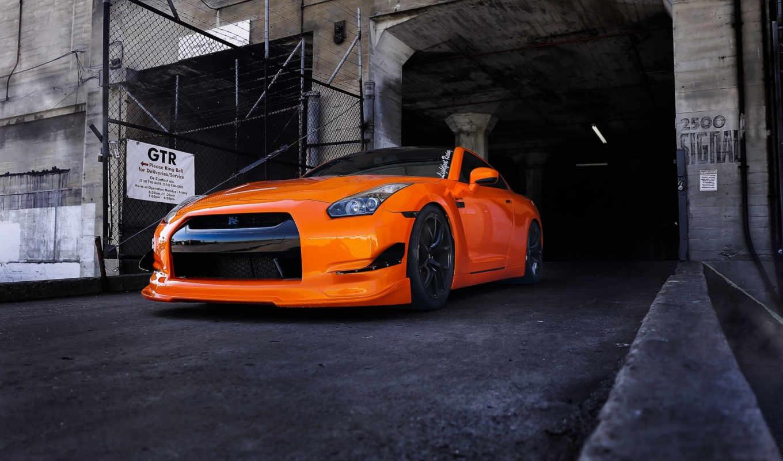 nissan, оранжевый,