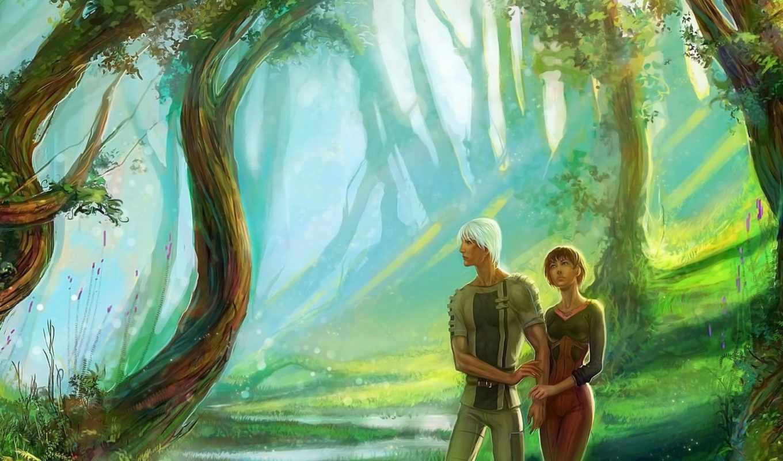 девушка, art, парень, anndr, fantasy, лес, деревя,