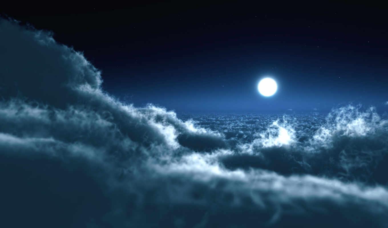 природа, луна, небо, ночь, inspiration, oblaka, views,