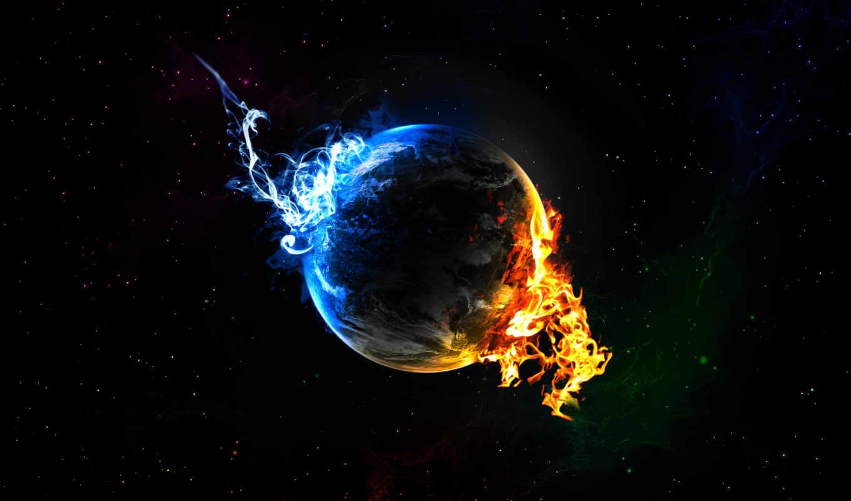 обои, планета, огонь, пламя, синий, звезды, конец,