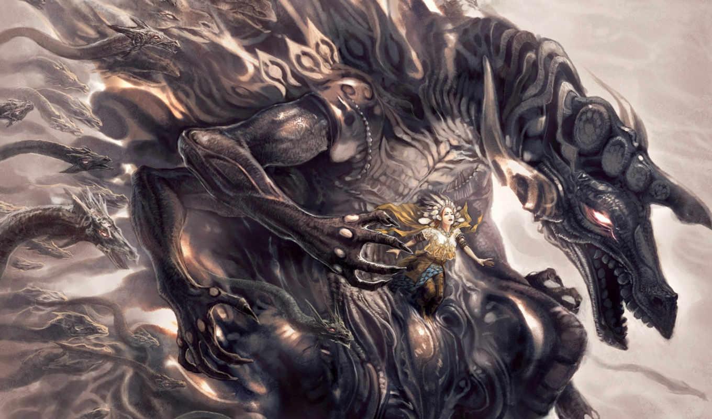 fantasy, ecran, dragons, science, přidat, art, fiction,