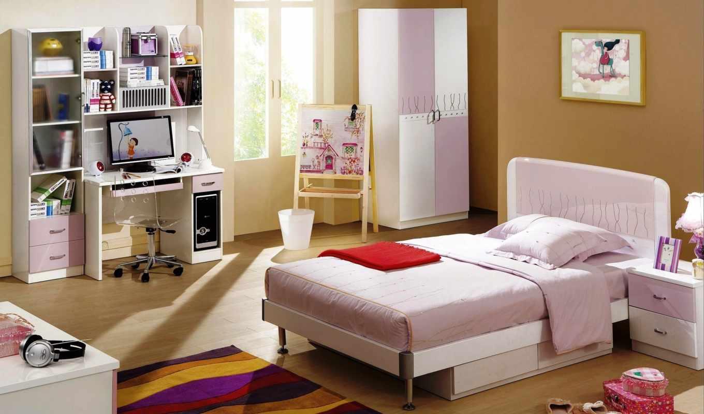 кровать, розовый, стенка, шкаф,окно,