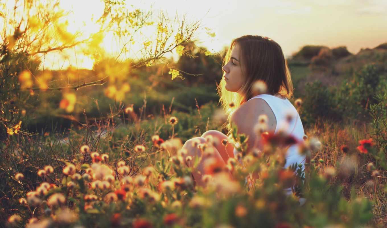девушка, грусть, поле, цветы, задумчивость, дерево