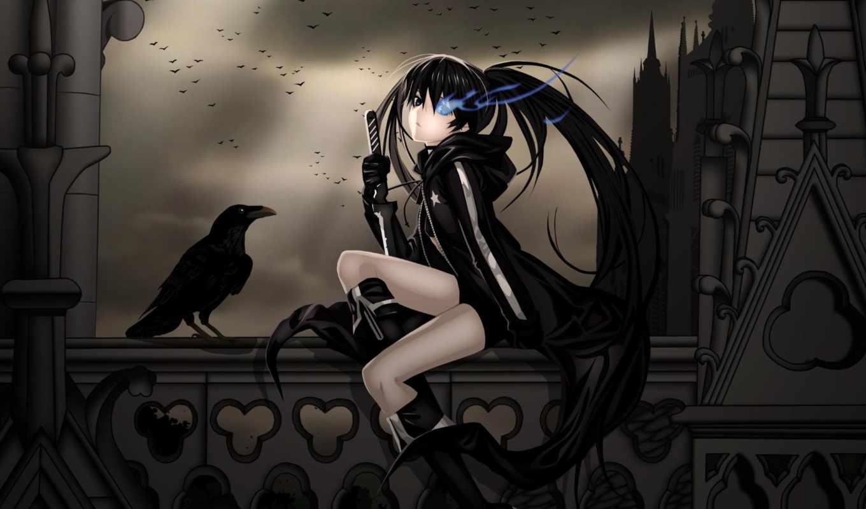 anime, ворон, воин, девушка, замок, балкон, ночь, pack,