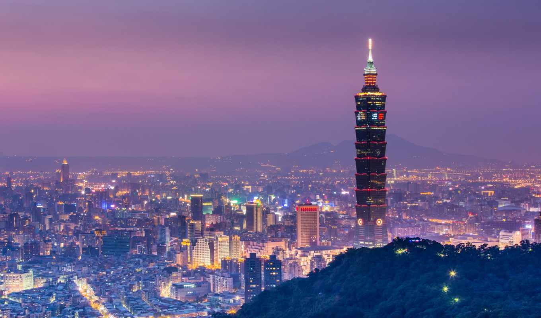 небоскребы, город, ночь, свет,china,