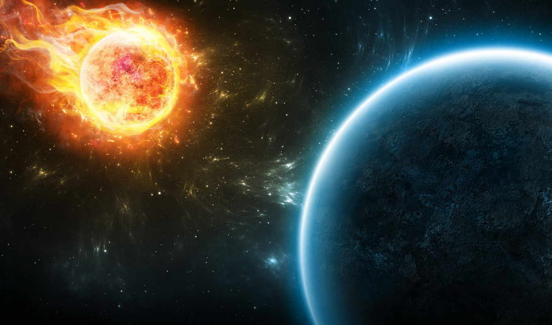 метеорит, planet, конец, убийца, пламя,