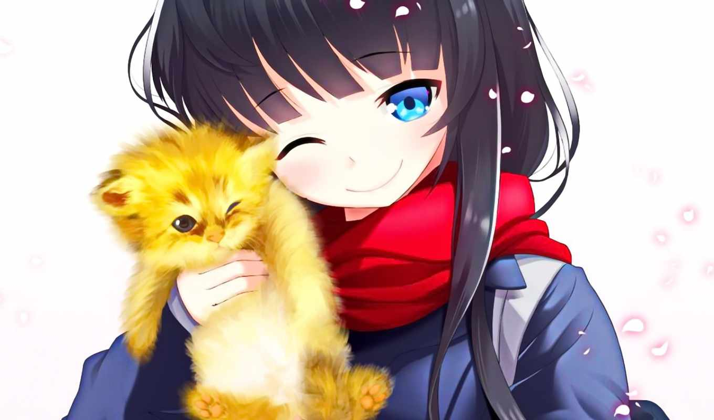 anime, кот, девушка, cute, girls, улыбка, cartoon,
