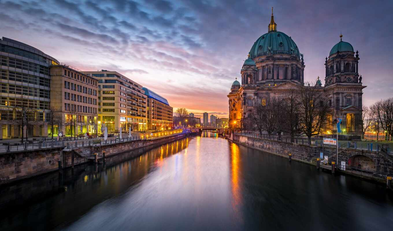 berlin, berliner, dom, germanii, cathedral, город, огонь, вечер, германия, река