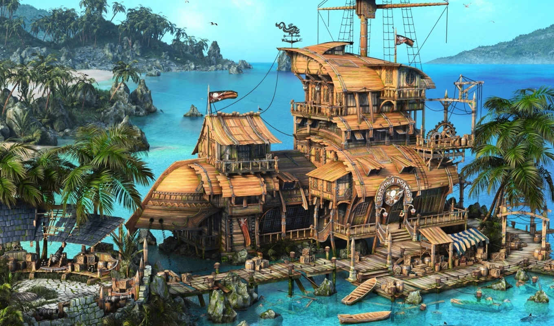 ship, pirates, caribbean, the, sea, rendering, тав