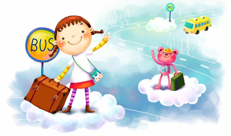 нарисованные, девочка, медвежонок, остановка, автобус, дорога, чемодан, улыбка, фотоаппарат, шляпа