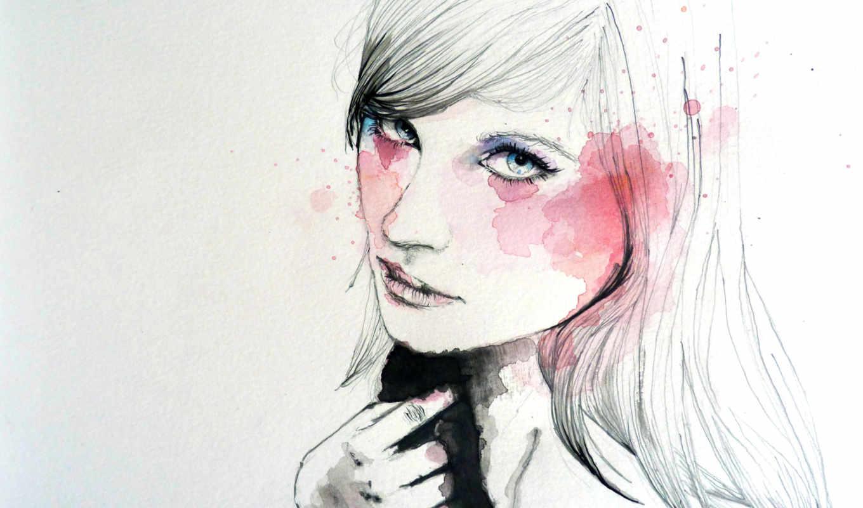 рисунок, девушка, art, краски, рука, лицо,