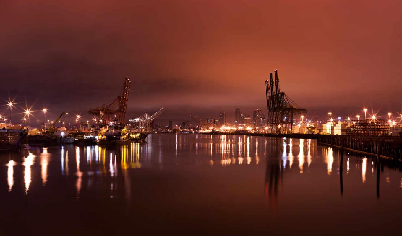 ночь, water, порт, город, огни, отражение, Нью-Йорк,