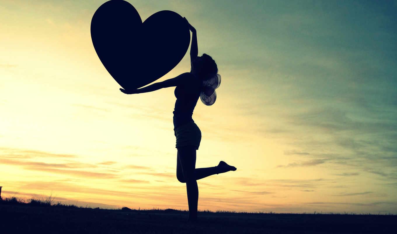 сердце, небо, закат, love, девушка, силуэт