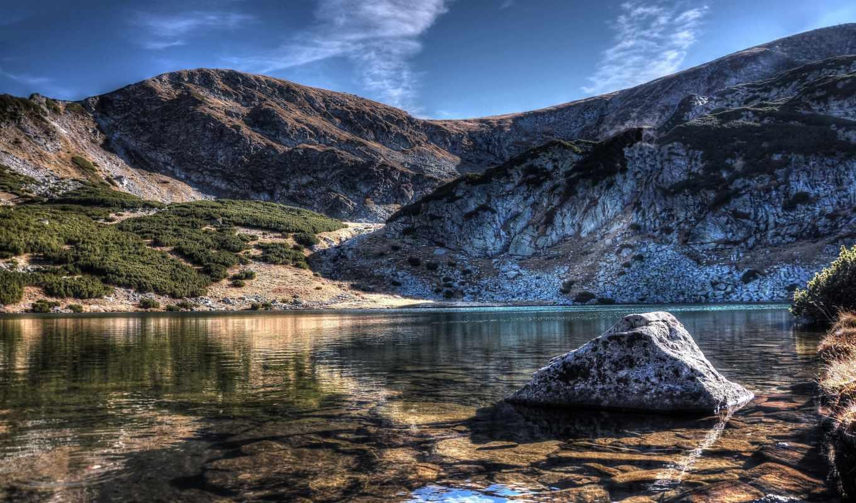 горы, озеро, камни,