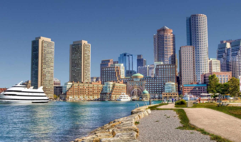 город, яхта, высотные, берег, здания, desktop, der, kste,