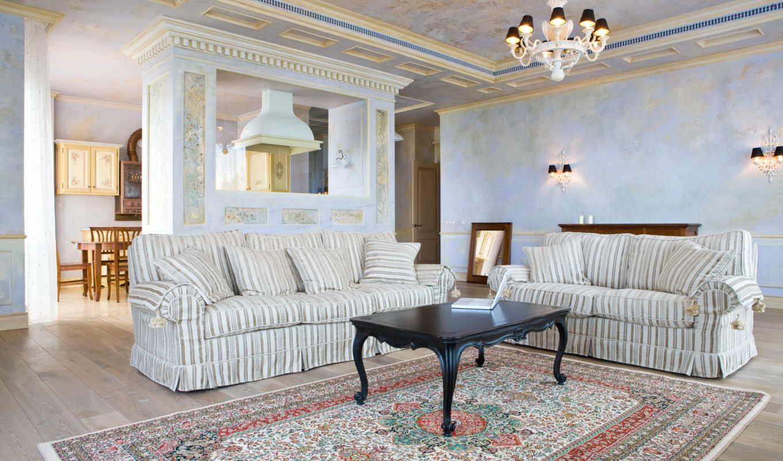 комната, интерьер, обстановка, камин, мебель, голубая,