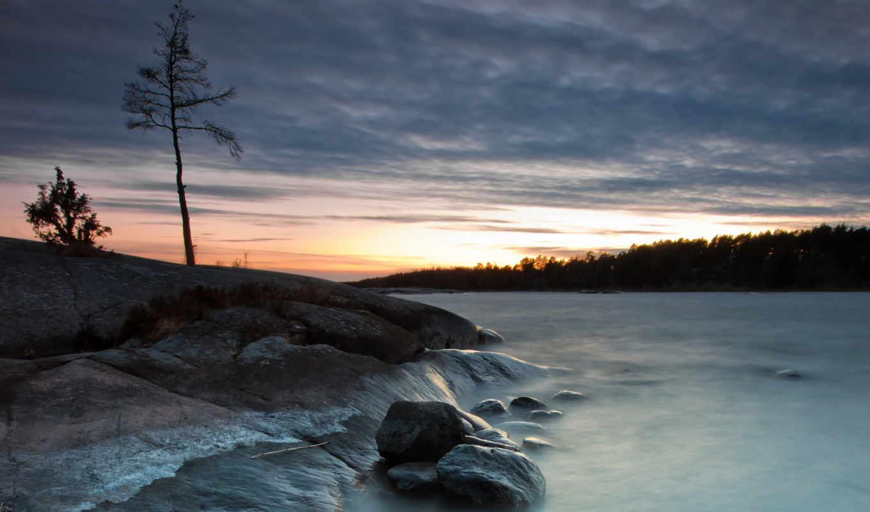 природа, озеро, пейзаж, камни, дерево, ночь, картинка,
