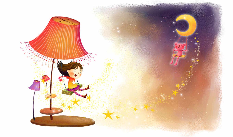 нарисованные, девочка, медвежонок, качели, торшер, звёздочки, мечты
